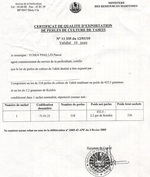 Certificat de qualité d'exportation de perles de culture de Tahiti n° 11335
