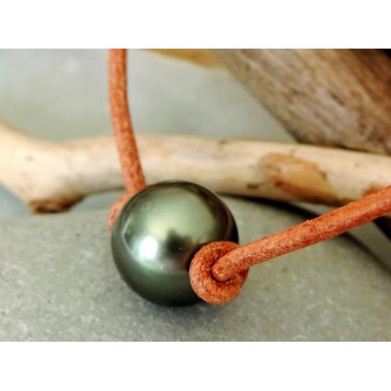 Rahiti - Collier Cuir et Véritable Perle de Tahiti