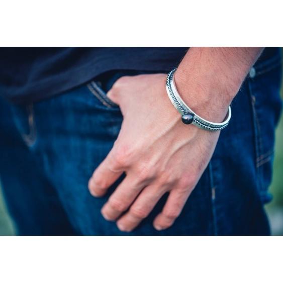 Collection Sailor - Bracelet Argent Massif et Véritable Perle de Tahiti