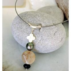 Etita - Collier Argent et Véritable Perle de Tahiti
