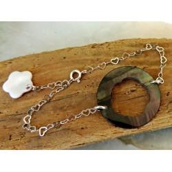 Bracelet en Argent Massif et Nacre de Tahiti