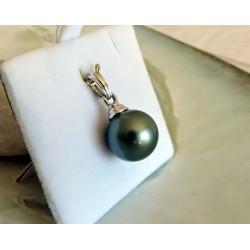 Vahine Enchantée - Pendentif Or Blanc 18 carats et Véritable Perle de Tahiti