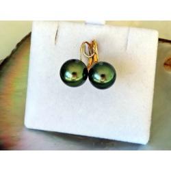 Soleils Verts - Boucles d'Oreilles en Or Jaune et Véritables Perles de Tahiti