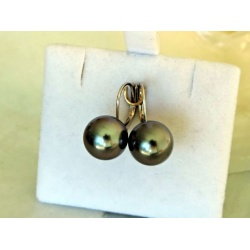 Perles d'Amour - Boucles d'Oreilles en Or Blanc et Véritables Perles de Tahiti