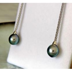 Vahiti - Boucles d'Oreilles Argent Rhodié et Véritables Perles de Tahiti