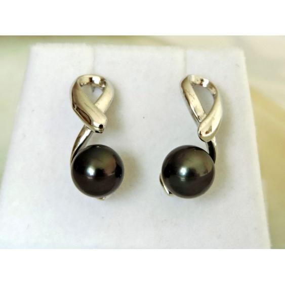 Vahinearii - Boucles d'Oreilles Argent Rhodié et Perles de Tahiti