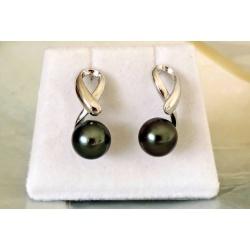 Vaena - Boucles d'Oreilles en  Argent Rhodié et Véritables Perles de Tahiti