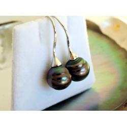 Fakarava - Boucles d'Oreilles Argent Rhodié et Véritables Perles de Tahiti