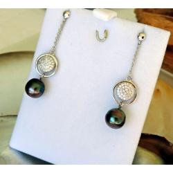 Hikueru - Boucles d'Oreilles Argent Rhodié et Véritables Perles de Tahiti