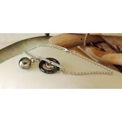 Moea - Bracelet Argent Rhodié, Céramique et Véritable Perle de Tahiti