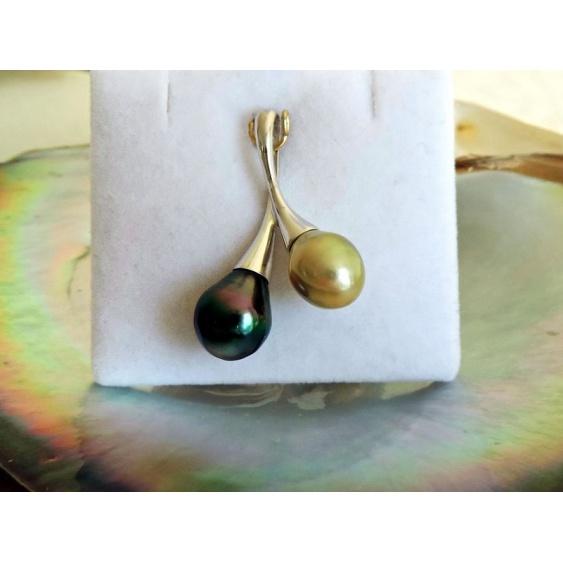 Toi&Moi Tahiti - Pendentif Argent Rhodié et Perles de Tahiti