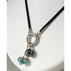 Collection Trésors de l'Océan - Corail - Collier Caoutchouc et Véritable Perle de Tahiti