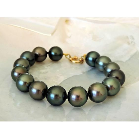 Noelani - Bracelet en Or Jaune 18 carats et Véritables Perles de Tahiti