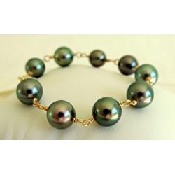 Poema - Bracelet en Or Jaune 18 carats et Véritables Perles de Tahiti