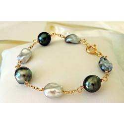 Rikitea - Bracelet en Or Jaune, Keshis et Perles de Tahiti