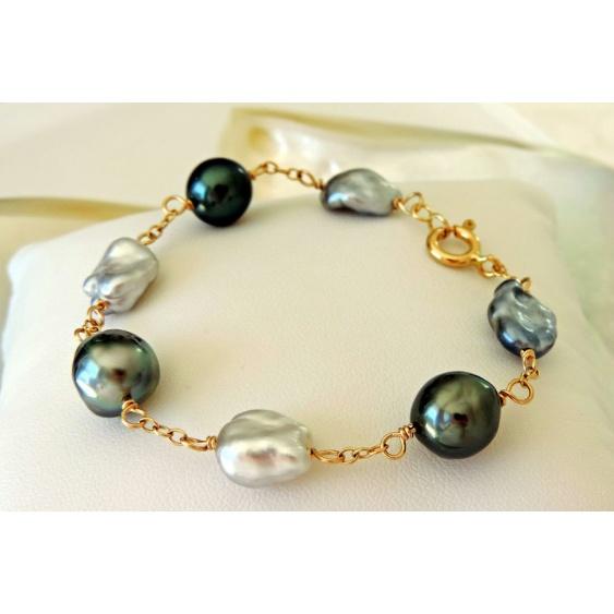 Rikitea - Bracelet en Or Jaune 18 carats et Véritables Perles de Tahiti