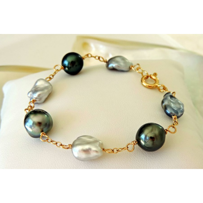 bracelet or et perle de tahiti bijoux chic. Black Bedroom Furniture Sets. Home Design Ideas