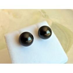 Tahuata - Boucles d'Oreilles en  Argent Rhodié et Perles de Tahiti