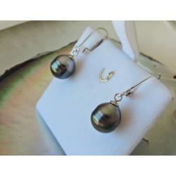 Reao - Boucles d'Oreilles en  Argent Rhodié et Perles de Tahiti