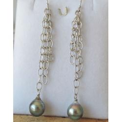 Hatu Iti - Boucles d'Oreilles en Argent Rhodié et Perles de Tahiti