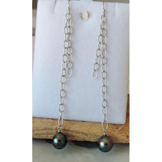 Hikueru - Boucles d'Oreilles en Argent Rhodié et Perles de Tahiti