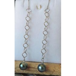 Ina - Boucles d'Oreilles en Argent Rhodié et Perles de Tahiti