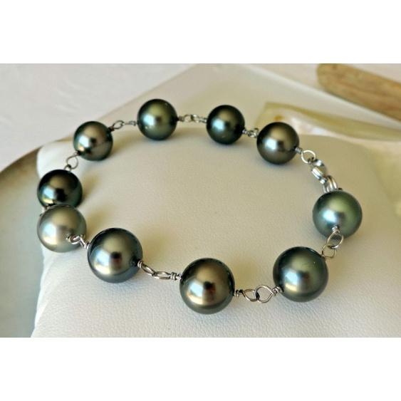 Manuia - Bracelet en Or Blanc 18 carats et Perles de Tahiti