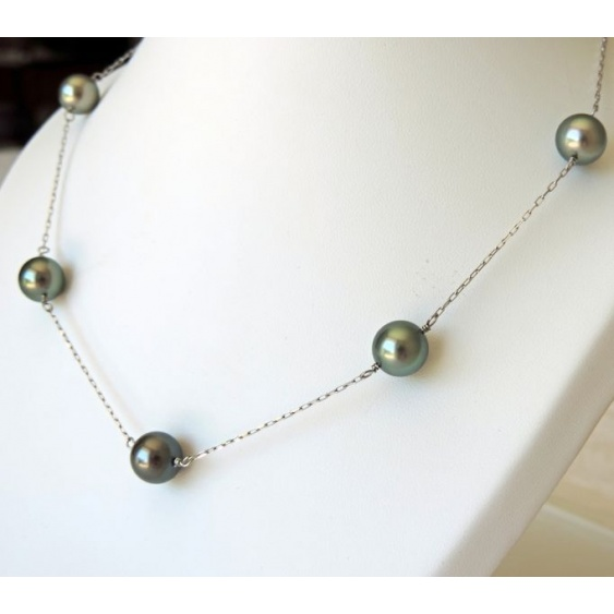 Sublimissime - Collier en Or Blanc et 5 Perles de Tahiti