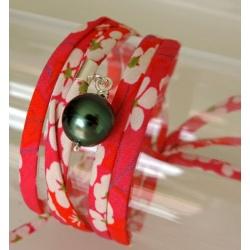 Tiare - Bracelet/Collier liberty et Véritable Perle de Tahiti