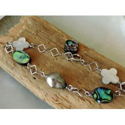 Veraura - Bracelet Argent Rhodié et Véritable Perle de Tahiti