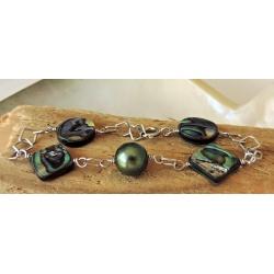 Vatina - Bracelet Argent Rhodié et Véritable Perle de Tahiti