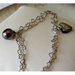 Vanina - Bracelet Argent Rhodié et Véritable Perle de Tahiti
