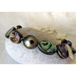 Vahinea- Bracelet Abalones et Perle de Tahiti