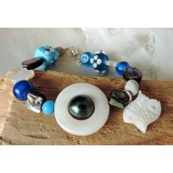 Tiputa- Bracelet Abalones et Perle de Tahiti