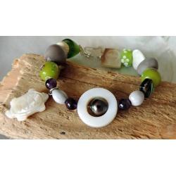 Tikei- Bracelet Abalones et Perle de Tahiti