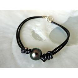 Tiputa - Bracelet en Cuir Noir et Perle de Tahiti