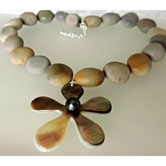 Ahinui - Collier en Nacre, Keoho et Perle de Tahiti