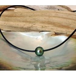 Raanui - Collier Cuir, Argent et Véritable Perle de Tahiti