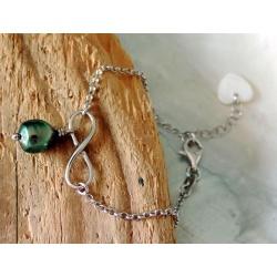 Aratika - Bracelet Argent Rhodié et Véritable Perle de Tahiti