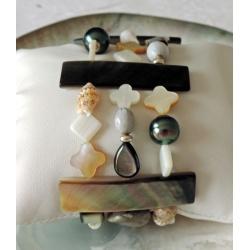 Bella - Bracelet Argent Rhodié et Véritables Perles de Tahiti