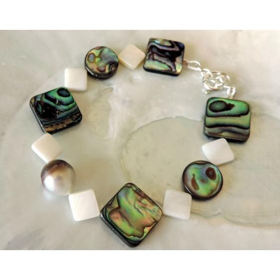 Emere - Bracelet Argent, Abalones et Perle de Tahiti