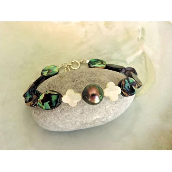 Emira - Bracelet Argent, Abalones et Perle de Tahiti