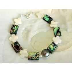 Faimana - Bracelet Argent, Abalones et Perle de Tahiti