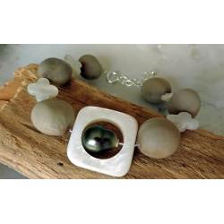 Heitiare - Bracelet Argent, Abalones et Perle de Tahiti
