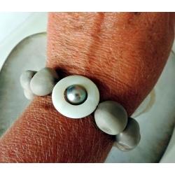 Hinarani - Bracelet Argent, Abalones et Perle de Tahiti