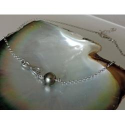 A l'Infini - Collier Argent Rhodié et Véritable Perle de Tahiti