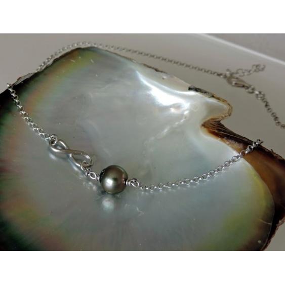 A l'Infini - Collier Argent Massif et Véritable Perle de Tahiti