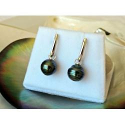 Puarai - Boucles d'Oreilles en  Argent Rhodié et Perles de Tahiti