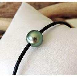 Tikei - Bracelet en Cuir Noir et Perle de Tahiti