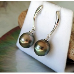 Haraiki - Boucles d'Oreilles en  Argent Rhodié et Perles de Tahiti
